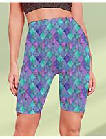 cheap -Women's Stylish Athleisure Breathable Soft Beach Fitness Biker Shorts Pants Geometric Pattern Color Block Knee Length Print Blue