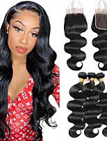 cheap -Ishow Hair Brazilian Body Wave Bundles With Closure Human Hair Bundles With Closure Brazilian Hair With Lace Closure Remy Hair