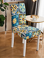 cheap -Stretch Kitchen Chair Cover Slipcover for Dinning Party Boho Geometric Four Seasons Universal Super Soft Fabric Retro Hot Sale