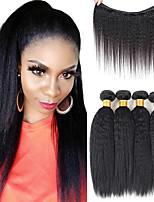 cheap -Kinky Straight Hair Peruvian Remy Hair Weave Bundles Coars Yaki 100% Human Hair Extensions
