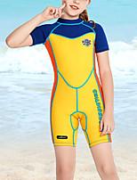 cheap -Girls' Rash Guard Dive Skin Suit Nylon Swimwear UV Sun Protection UPF50+ Quick Dry Stretchy Short Sleeve Swimming Surfing Snorkeling Patchwork Summer / Kid's