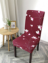 cheap -Stretch Kitchen Chair Cover Slipcover for Dinning Party Plants Flower Four Seasons Universal Super Soft Fabric Retro