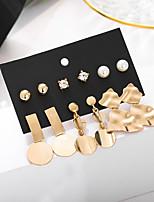 cheap -jewelry earrings set, creative metal element disc earrings, irregular geometric 6-piece earrings