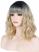 cheap -beron 14 inches black blonde ombre wig short curly wig with bangs blonde wig synthetic wigs women girls ombre wig with wig cap