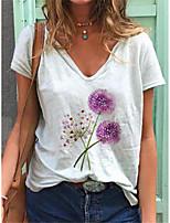 cheap -Women's T shirt Dandelion Print V Neck Basic Tops Cotton White Blue Yellow