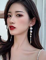 cheap -925 sterling silver long tassel earrings pearls earrings dangle earrings bohemian statement earrings for women girls daily party