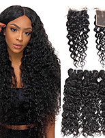 cheap -Water Wave Bundles With Closure Transparent Lace Frontal Closure With Bundles Remy Hair Weave Extensions 8-28Inch