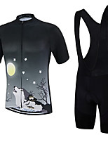 cheap -21Grams Men's Short Sleeve Cycling Jersey with Bib Shorts Summer Spandex Polyester Black Stars Wolf Bike Clothing Suit 3D Pad Quick Dry Moisture Wicking Breathable Reflective Strips Sports Stars