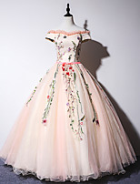 cheap -Ball Gown Elegant Floral Quinceanera Formal Evening Dress Off Shoulder Short Sleeve Floor Length Tulle with Embroidery 2021