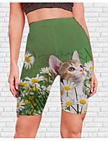 cheap -Women's Stylish Athleisure Breathable Soft Beach Fitness Biker Shorts Pants Cat Flower / Floral Knee Length Print Green