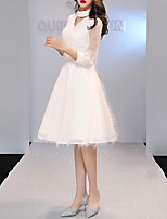 cheap -A-Line Minimalist Elegant Homecoming Cocktail Party Dress Halter Neck 3/4 Length Sleeve Knee Length Tulle with Feather 2021
