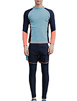 cheap -Men's Rash Guard Dive Skin Suit Spandex Swimwear UV Sun Protection UPF50+ Quick Dry Stretchy Full Body 3-Piece - Swimming Diving Surfing Snorkeling Patchwork Autumn / Fall Spring Summer