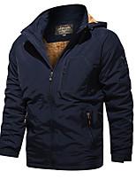 cheap -Men's Hoodie Jacket Hiking Windbreaker Hiking Fleece Jacket Outdoor Solid Color Thermal Warm Windproof Fleece Lining Quick Dry Winter Jacket Coat Top Skiing Hunting Ski / Snowboard Army Green Blue