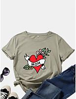 cheap -cotton flower print loose t-shirt