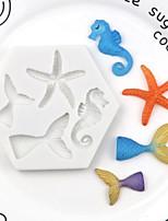 cheap -New marine series DIY baking fish tail sea star seahorse silicone mold fondant mold decoration