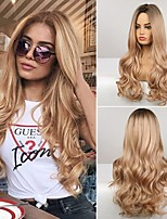 cheap -Ombre Blonde Wigs Long Wavy Synthetic wig for Women Middle Part Natural Looking Silk Fully Heat Resistant Synthetic Wig for Daily Party Use Cosplay 26 Inch