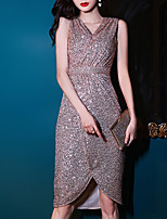 cheap -Mermaid / Trumpet Sparkle Sexy Homecoming Party Wear Dress V Neck Sleeveless Short / Mini Sequined with Sequin 2021