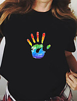 cheap -Women's Painting T shirt Rainbow Graphic Print Round Neck Basic LGBT Pride Tops White Black