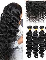 cheap -Peruvian Hair Bundles Loose Deep Wave Human Hair Extensions Ishow Hair Remy Hair Natural Color 4 Pieces Hair Weave