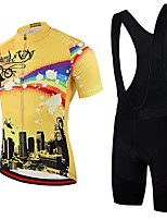 cheap -21Grams Men's Short Sleeve Cycling Jersey with Bib Shorts Summer Spandex Polyester Black / Yellow Rainbow Bike Clothing Suit 3D Pad Quick Dry Moisture Wicking Breathable Reflective Strips Sports
