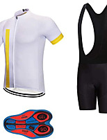 cheap -21Grams Men's Short Sleeve Cycling Jersey with Bib Shorts Summer Spandex Polyester White Bike Clothing Suit 3D Pad Quick Dry Moisture Wicking Breathable Reflective Strips Sports Vertical Stripes