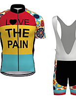 cheap -21Grams Men's Short Sleeve Cycling Jersey with Bib Shorts Summer Spandex Polyester Red / Yellow Bike Clothing Suit 3D Pad Quick Dry Moisture Wicking Breathable Reflective Strips Sports Letter & Number
