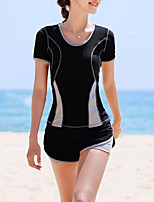 cheap -Women's Rashguard Swimsuit Swimwear UV Sun Protection UPF50+ Quick Dry Stretchy Short Sleeve 2 Piece - Swimming Surfing Snorkeling Patchwork Summer