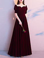 cheap -A-Line Minimalist Vintage Wedding Guest Formal Evening Dress Sweetheart Neckline Short Sleeve Floor Length Velvet with Sleek 2021