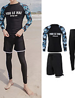 cheap -Men's Rash Guard Dive Skin Suit Swimwear UV Sun Protection UPF50+ Quick Dry Stretchy Long Sleeve 3-Piece - Swimming Diving Surfing Snorkeling Floral / Botanical Autumn / Fall Spring Summer