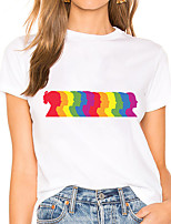 cheap -Women's Portrait Painting T shirt Rainbow Portrait Print Round Neck Basic LGBT Pride Tops White Black