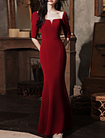 cheap -Mermaid / Trumpet Elegant bodycon Prom Formal Evening Dress Scoop Neck Half Sleeve Floor Length Stretch Fabric with Beading 2021