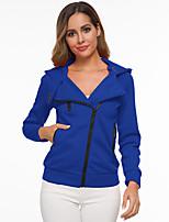 cheap -Women's Hoodie Zip Up Hoodie Sweatshirt Plain Zipper Pocket Daily Sports Active Streetwear Hoodies Sweatshirts  Blue Light gray Dark Gray / Fleece Lining