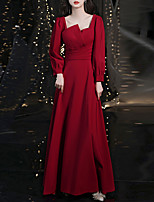 cheap -A-Line Elegant Vintage Engagement Formal Evening Dress Scoop Neck Long Sleeve Floor Length Stretch Fabric with Pleats 2021