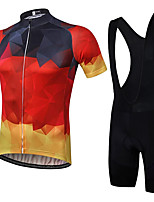 cheap -21Grams Men's Short Sleeve Cycling Jersey with Bib Shorts Summer Spandex Polyester Red Bike Clothing Suit 3D Pad Quick Dry Moisture Wicking Breathable Reflective Strips Sports Geometric Mountain Bike