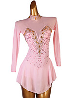 cheap -Figure Skating Dress Women's Girls' Ice Skating Dress Pink Open Back Patchwork High Elasticity Training Competition Skating Wear Classic Long Sleeve Ice Skating Figure Skating