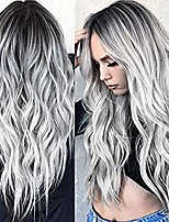 cheap -yunsi ombre silver grey wave natural looking long wavy full heat resistant daily wigs,synthetic wig
