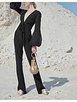 cheap -Jumpsuits Minimalist Elegant Engagement Formal Evening Dress V Neck Long Sleeve Floor Length Chiffon with Sash / Ribbon 2021