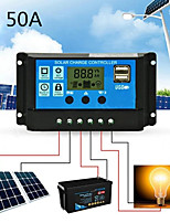cheap -Solar Charge Controller with LCD and Auto Output Regulator 50A 12V 24V Solar Charge Controller LCD Display Dual USB