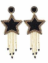 cheap -star beaded tassel dangle earrings - long five star big bead chandelier drop earrings for women, large statement native beaded fringe 5 star earrings (black beaded star earrings)