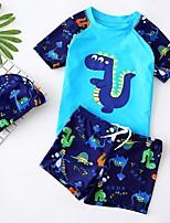 cheap -Boys' Rashguard Swimsuit Spandex Swimwear UV Sun Protection UPF50+ Quick Dry Stretchy Short Sleeve Swimming Surfing Snorkeling Patchwork Summer / Kid's