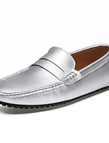cheap -Men's Loafers & Slip-Ons Comfort Loafers Crib Shoes Driving Shoes Casual Daily Leather Breathable Non-slipping Wear Proof Yellow Gray White Fall Spring