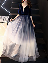 cheap -A-Line Minimalist Gradient Wedding Guest Formal Evening Dress Illusion Neck V Neck Half Sleeve Floor Length Tulle Velvet with Sash / Ribbon 2021