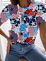 cheap -Women's Painting T shirt Geometric Graffiti American Flag Print Round Neck Basic Tops Blue
