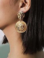cheap -lion head earrings vintage statement golden coin women fashion