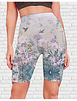 cheap -Women's Stylish Athleisure Breathable Soft Beach Fitness Biker Shorts Pants Flower / Floral Graphic Prints Knee Length Print Gray