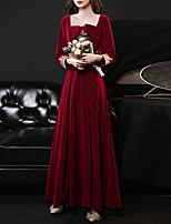 cheap -A-Line Glittering Elegant Engagement Formal Evening Dress Scoop Neck Long Sleeve Floor Length Velvet with Embroidery Appliques 2021