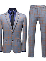 cheap -Men's Wedding Suits Notch Slim Fit Single Breasted Two-buttons Straight Flapped Plaid Polyester