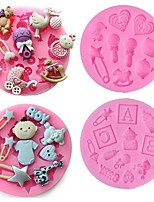 cheap -4 Pieces Set Baking Mold 3D Silicone Baby Shower Party Fondant Mold for Cake Decorating Silicone Mold Fondant Cake Sugar Craft Moulds Tools
