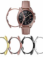 cheap -yuvike compatible with samsung galaxy watch 3 45mm case, 4 packs hard pc protective cover smartwatch bumper frame accessories (clear+black+gold+mystic bronze, 45mm)