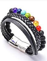 cheap -Natural Stone Bead Bracelet Retro Rainbow Fashion Leather Bracelet Jewelry Black / Rainbow For Anniversary Date Birthday Festival